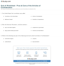 quiz worksheet pros cons of the articles of confederation print articles of confederation strengths weaknesses worksheet