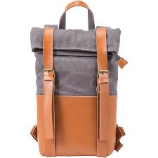 grey two bottle leather wine backpack carrier