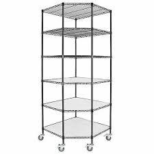4 of 12 6 tier heavy duty wire shelving rack corner unit storage adjustable steel shelf