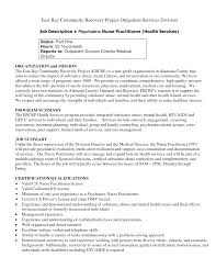 Psychiatric Nurse Job Description Resume Inspiration Resume For Nurse Practitioner School With Skills 1