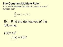 Constant Multiple Rule Derivative Math 5 The Constant Multiple Math