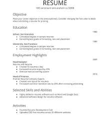 Create A Simple Resumes Create Simple Resume Blaisewashere Com