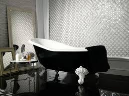 luxury modern cast iron bathtub design with white claw feet plus black and white interior color
