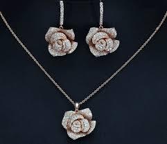 details about 18k rose gold flower pendant necklace earring set made w swarovski crystal stone
