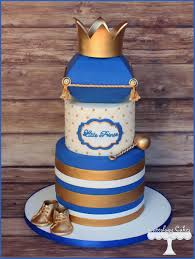Prince Themed Baby Shower Cake In Royal Blue And Gold With Arizona