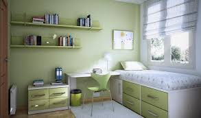 Green Kid's Bedroom with Floating Shelves