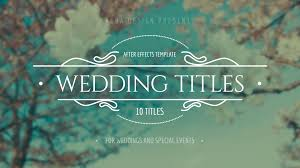 Wedding Title Template Wedding Titles After Effects Template