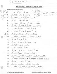 balancing chemical equations worksheets 1 answer key