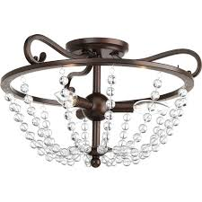 progress lighting bliss 17 in w antique bronze clear glass semi flush mount light
