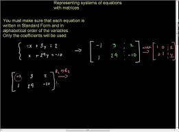 systems of equations matrices and gaussian elimination example with 2 equations