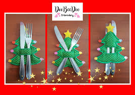 First Christmas Embroidery Design Christmas Tree Cutlery Holder Ith Applique Machine Embroidery Design
