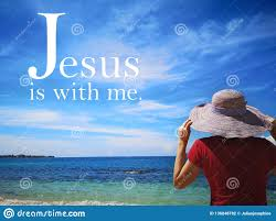 Jesus is with Me with Background Ocean View and a Lady Look Up To the Sky  Design for Christianity. Stock Photo - Image of christian, abstract:  136848782