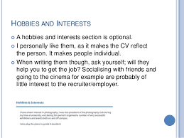 Examples Of Hobbies And Interests For Job Application Resume Include Hobbies