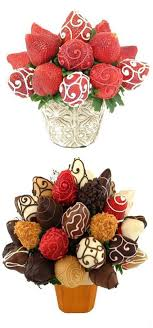chocolate flowers made with cake and chocolate covered strawberries i want this instead of