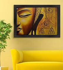 half golden buddha face in dhyana