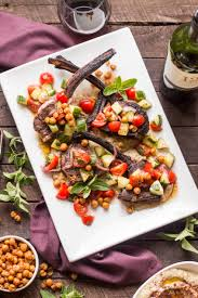 Grilled Lamb Chops With Eggplant Puree Crispy Chick Peas Tomatoes Cucumbers