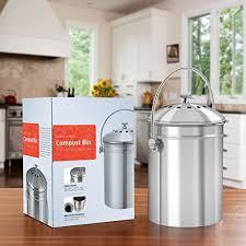 utopia kitchen stainless steel compost bin kitchen countertop