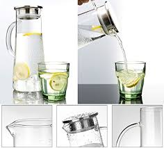 hiware glass pitcher with lid and spout handmade water carafe great for hot cold water