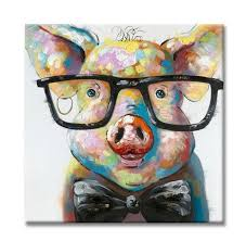 modern funny pig with gl canvas painting on prints home decoration animal picture wall art paintings