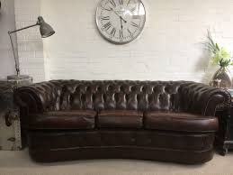 rare bow fronted rich brown vintage chesterfield sofa sold