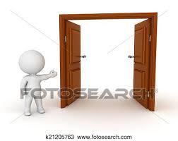 open door drawing. Modren Drawing 3D Character Showing A Large Open Double Door Intended Open Door Drawing