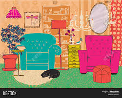 Living Room Furniture Accessories Hand Drawn Living Room Furniture Cartoon Style Living Room