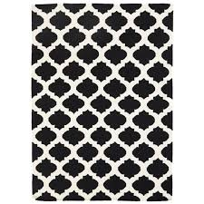 Traditional Granada Black Lattice Wool Kilim Rug in Black And White Rugs