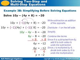 holt mcdougal algebra 1 solving two step and multi step equations solve 10y