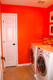 Decorations:DIY Laundry Room Decoration Under Stairs White Color Idea Laundry  Room With Bright Orange