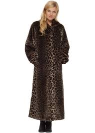 leopard print soft faux fur full length coat