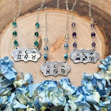 Custom Birth Chart Necklace Custom Astrology Necklace Crystal Jewelry Bar Necklace