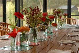 Glass Jar Table Decorations Various Beautiful Flowers In Glass Jar As The Dining Room Table 81