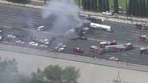 At least 1 killed, 12 injured in fiery crash on a Los Angeles ...