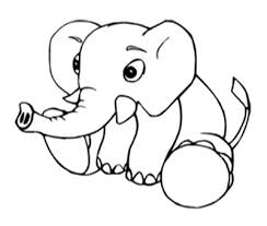 Baby Elephant Coloring Sheet Printable Line Art Just Free Image