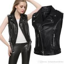 punk pu leather motorcycle jackets women quality sleeveless leather slim fit euramerican style clothing jacket styles womens leather er jacket from
