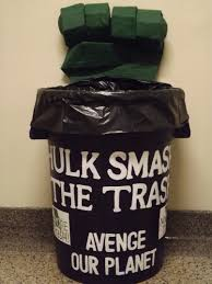 trash cans default: hulk smash the trash avenge our planet hulk is going green for a good reason we painted the trash can and letters we made hulks fist out of plaster of