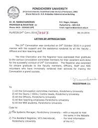 Letter Of Appreciation Adorable Letter Of Appreciation Conduct Of 48th Convocation Pondicherry