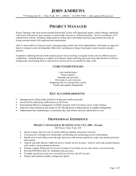 Project Manager Accomplishments Resume Resume Work Template