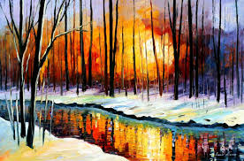 Painting Canvas Winter Sun Palette Knife Oil Painting On Canvas By Leonid