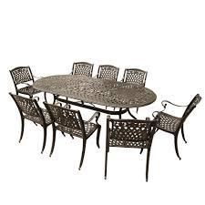 Internet 304944109 contemporary modern 9 piece bronze aluminum oval outdoor dining set