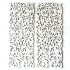 white carved wood wall art pair of wall art panel wood carving sculpture panel bed headboard  on carved wood wall art white with white carved wood wall art white wash carved wood wall art reclaim