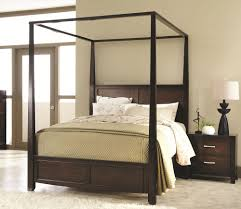 55 Black Wood Canopy Bed, Furniture Beautiful Queen Canopy Bed Frame ...