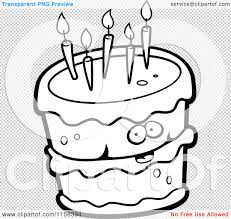 Small Picture Cartoon Clipart Of A Black And White Birthday Cake Character with