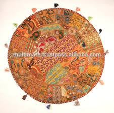 ethnic floor cushions.  Ethnic Indian Handicraft Table Cloth Cover Big Round Decorative  Pillow And Throws Meditation Cushion In Ethnic Floor Cushions O