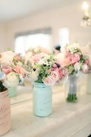 Blue Mason Jars Wedding Decor As Seen In Smitten Magazine Mint And Blush SPRING And SUMMER 50