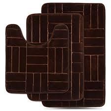effiliv 3 piece bathroom rugs set memory foam bath mats brown line