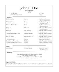 Actor Cv Template Free Download Theatre Resume Sample Musical