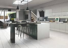 Floor To Ceiling Kitchen Units Grey High Gloss Slab Kitchen Units Grey Slab Style Kitchens At