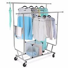 cloth hanger rack. Modren Hanger LANGRIA Collapsible Adjustable Double Rail Rolling Garment Rack Clothing  Drying Hanging Racks 250 Lbs Capacity Chrome In Cloth Hanger A