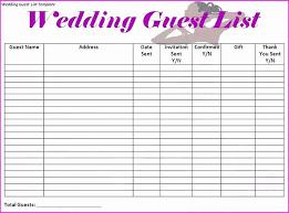 wedding list spreadsheet wedding invite spreadsheet or printable wedding guest list template